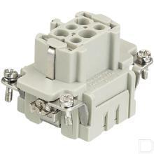 Busconnector E serie 6 polig voor kabeldikte 0,14-4mm² bodembevestiging krimpklem 500V 16A productfoto