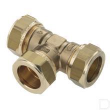 Knelkoppeling T-stuk 15mm Vernikkeld productfoto