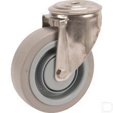 Zwenkwiel 125mm elastisch grijs rubber loopvlak productfoto
