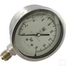 "Manometer Ø100mm 0-16bar 1/2"" onderaansluiting RVS productfoto"