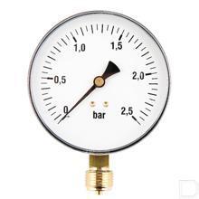 "Manometer Ø100mm 0-2,5bar 1/2"" onderaansluiting Staal productfoto"