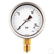 "Manometer Ø100mm 0-16bar 1/2"" onderaansluiting Glycerine RVS productfoto"