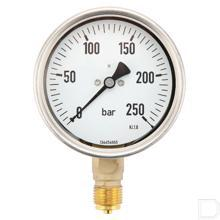 "Manometer Ø100mm 0-250bar 1/2"" onderaansluiting Glycerine RVS productfoto"