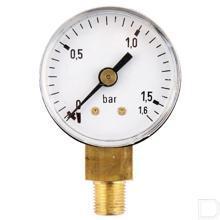 "Manometer Ø40mm 0-1,6bar 1/8"" onderaansluiting Staal productfoto"