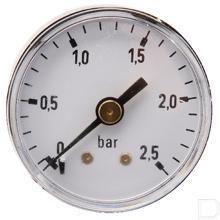 "Manometer Ø40mm 0-2,5bar 1/8"" achteraansluiting Staal productfoto"