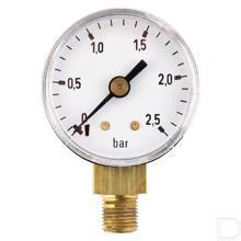 "Manometer Ø40mm 0-2,5bar 1/8"" onderaansluiting Staal productfoto"