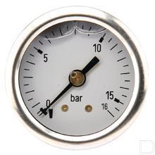"Manometer Ø40mm 0-16bar 1/8"" achteaansluiting Glycerine RVS productfoto"