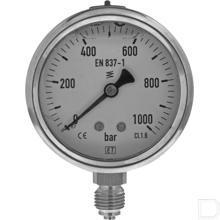 "Manometer Ø63mm 0-1000bar 1/4"" onderaansluiting Glycerine RVS productfoto"