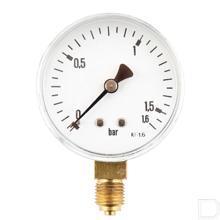 "Manometer Ø63mm 0-1,6bar 1/4"" onderaansluiting Staal productfoto"