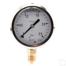 "Manometer Ø63mm 0-2,5bar 1/4"" onderaansluiting Glycerine RVS productfoto"