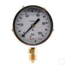 "Manometer Ø63mm 0-100bar 1/4"" onderaansluiting Glycerine RVS productfoto"