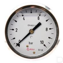 "Manometer Ø63mm 0-10bar 1/4"" achteraansluiting Glycerine RVS productfoto"