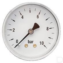 "Manometer Ø63mm 0-10bar 1/4"" achteraansluiting Staal productfoto"
