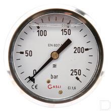 "Manometer Ø63mm 0-250bar 1/4"" achteraansluiting Glycerine RVS productfoto"