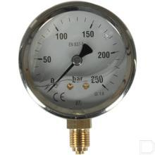 "Manometer Ø63mm 0-250bar 1/4"" onderaansluiting Glycerine RVS productfoto"