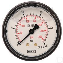 "Manometer Ø63mm 0-25bar 1/4"" achteraansluiting Glycerine Kunststof productfoto"