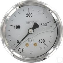 "Manometer Ø63mm 0-400bar 1/4"" achteraansluiting Glycerine RVS productfoto"