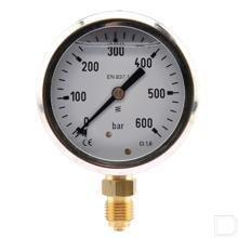 "Manometer Ø63mm 0-600bar 1/4"" onderaansluiting Glycerine RVS productfoto"