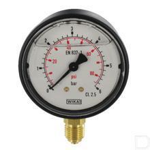 "Manometer Ø63mm 0-6bar 1/4"" onderaansluiting Glycerine Kunststof productfoto"