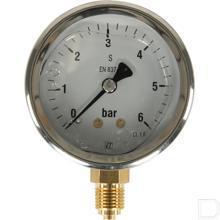 "Manometer Ø63mm 0-6bar 1/4"" onderaansluiting Glycerine RVS productfoto"