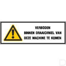 Waarschuwingssticker 297x105mm draaicirkel machine productfoto