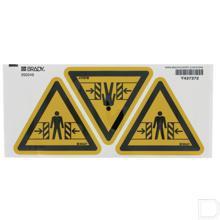 Sticker waarschuwing beknelling 50mm  productfoto
