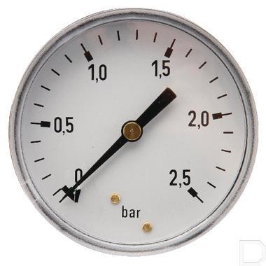 "Manometer Ø63mm 0-2,5bar 1/4"" achteraansluiting Staal productfoto"
